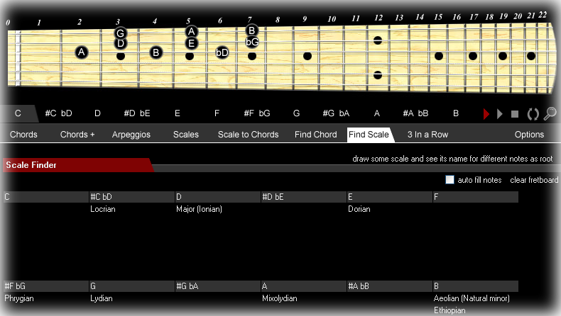 recognize scales by drawing a few notes on the fretboard