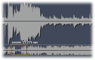 zoom in and out of waveform and set loop points precisely