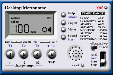 Click to view Desktop Metronome 1.6 screenshot